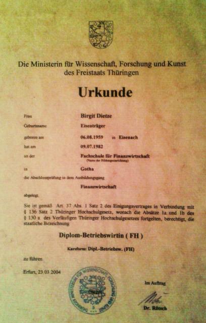 Urkunde für den Abschluß als Dipl.BW.( FH)